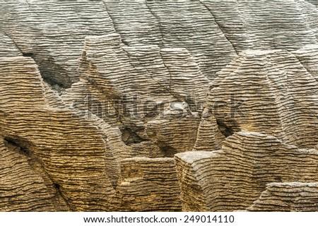 Detail of pancake rock in Punakaiki, Paparoa national park, New Zealand - stock photo