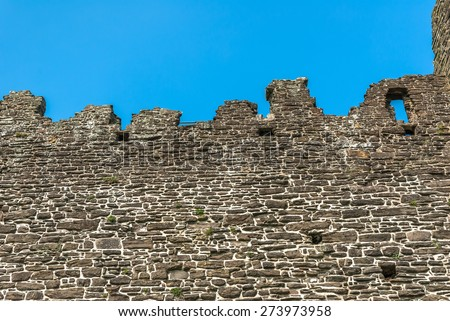 detail of part of the wall at Conwy castle, Wales. - stock photo