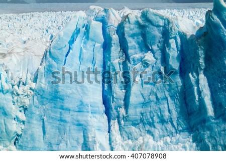 Detail of Perito Moreno glacier, Los Glaciares National Park, Patagonia, Argentina - stock photo