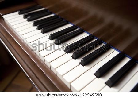 detail of piano keys - stock photo