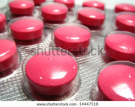 Detail of pink drug pills