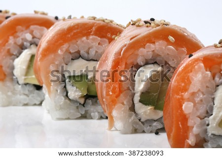 detail of plate of Japanese sushi