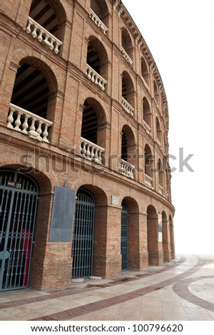 Detail of Plaza de toros (bullring) in Valencia, Spain. The stadium was built by architect Sebastian Monleon in 1851. - stock photo