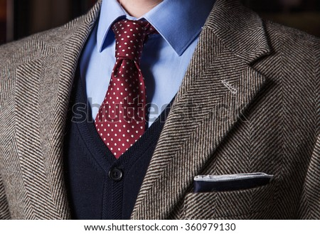Detail of Pocketsquare and tie - stock photo