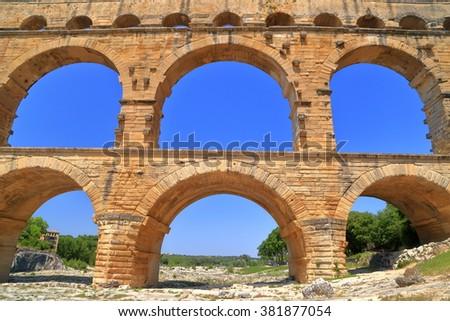 Detail of Pont du Gard in sunny day near Nimes, France - stock photo