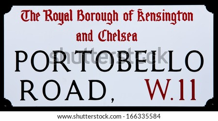 detail of portobello road sign - stock photo