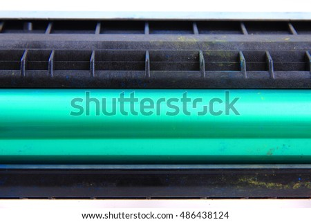 detail of printer laser roller isolated on white background