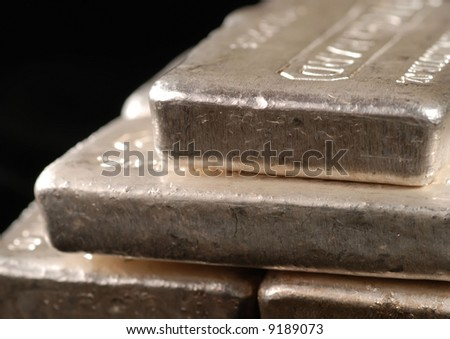 detail of pure silver bars - stock photo