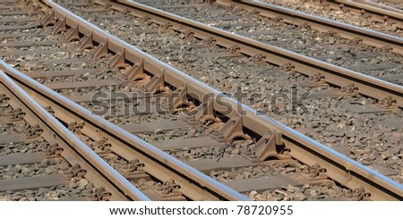 Detail of Railway railroad tracks for trains