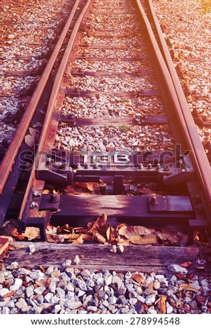 Detail of railway with soft light and soft focus style - stock photo