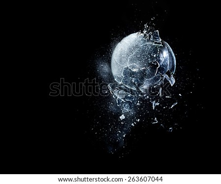 detail of real glass explosion - stock photo