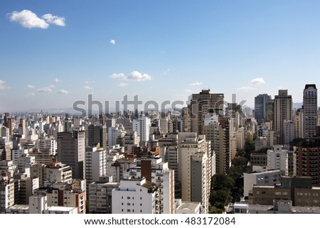 Detail of reflected windows of buildings around Paulista Avenue in Sao Paulo, Brazil