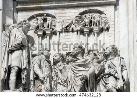 Detail of relief panel of Arch of Constantine (barbarians worship to the emperor), Rome, Italy