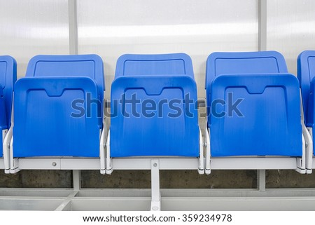 Detail of Reserve chair and staff coach bench in sport stadium