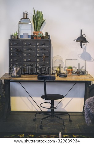 detail of retro interior with work table