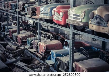 detail of retro toy car  - stock photo