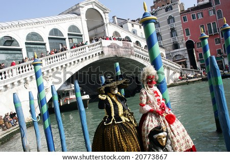 Detail of Rialto bridge in Venice during carnival, Italy - stock photo