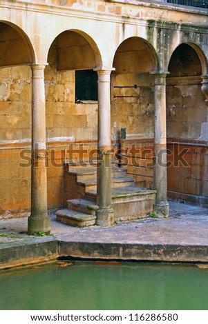 Detail of Roman Baths in Bath, England - stock photo