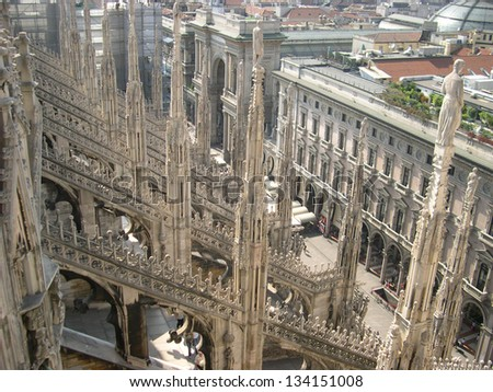 Detail of Roof of gothic Milan cathedral, Italy - stock photo