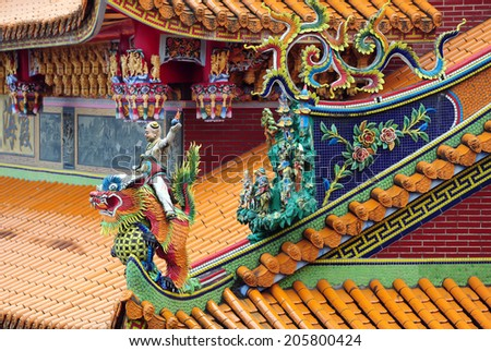 Detail of roof Taiwanese temple The temple open to the public to watch And allowed to take photos in the temple no restriction in copy or use - stock photo