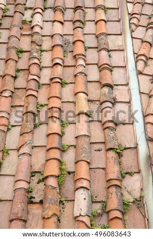 detail of roof tile in a old house