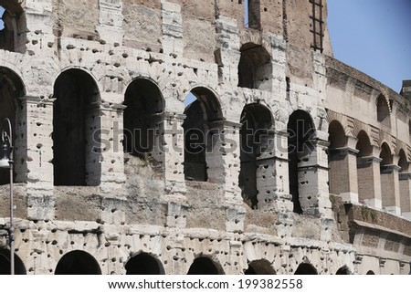 detail of  ruins, coliseum, rome, italy