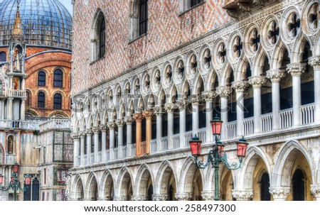 Detail of San Marco square in hdr tone mapping effect - stock photo