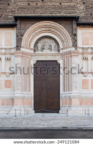 Detail of San Petronio Cathedral. Bologna, Italy. - stock photo