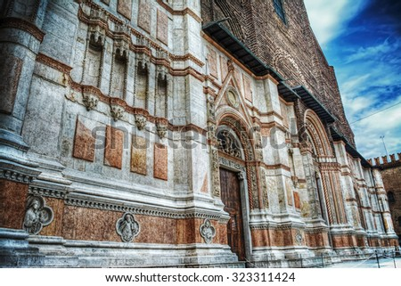 detail of San Petronio cathedral front view in Bologna, Italy - stock photo