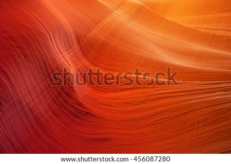 detail of sandstone wall in Antelope Slot Canyon - stock photo