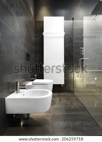 detail of sanitary ware and heater in a modern bathroom with dark tiles