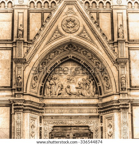 detail of Santa Croce cathedral in Florence in sepia tone, Italy - stock photo