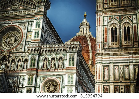 detail of Santa Maria del Fiore in Florence, Italy - stock photo