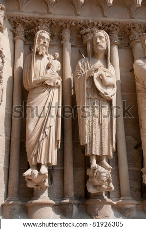 Detail of sculptures on Reims cathedral, Champagne region France - stock photo