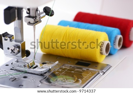 Detail of sewing machine and sewing cottons