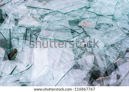 Detail of sharp broken pieces of glass