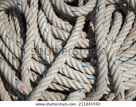 detail of ships rope - stock photo