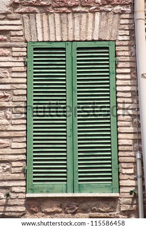 Detail of Shuttered Window - stock photo