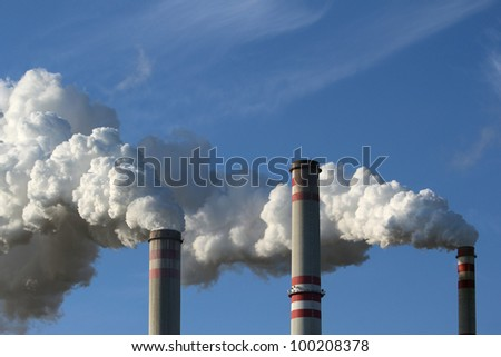 detail of smoking chimney of coal power plant