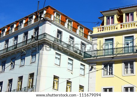 Detail of some buildings at Lisbon's downtown.