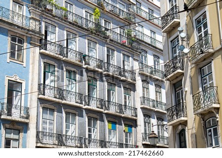 Detail of some buildings in the old part of Lisbon, Portugal - stock photo
