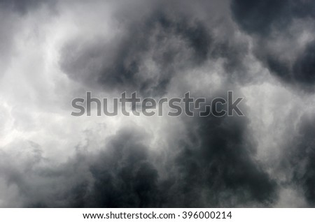 Detail of some structures and shapes of clouds building up during a thunderstorm.