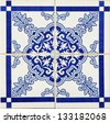 Detail of some typical portuguese tiles (azulejos) at Porto - stock photo