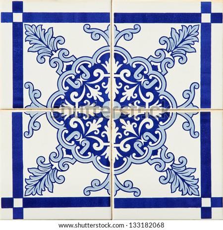 Detail of some typical portuguese tiles (azulejos) at Porto - stock photo