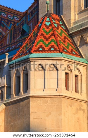 Detail of St Matthias church with Gothic architecture, Budapest, Hungary - stock photo