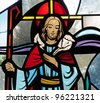 Detail of stained glass window of Jesus Christ as the Good Shepherd - stock photo