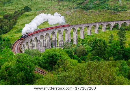 Detail of steam train on famous Glenfinnan viaduct, Scotland, United Kingdom - stock photo