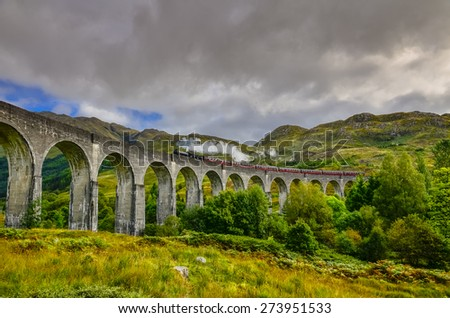 Detail of steam train on famous Glenfinnan viaduct, Scotland, United Kingdom