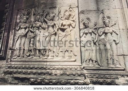 Detail of stone carvings in angkor wat,cambodia. Apply color filter