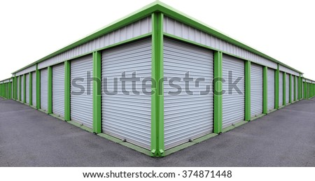Detail of storage units building with sliding garage style doors - stock photo